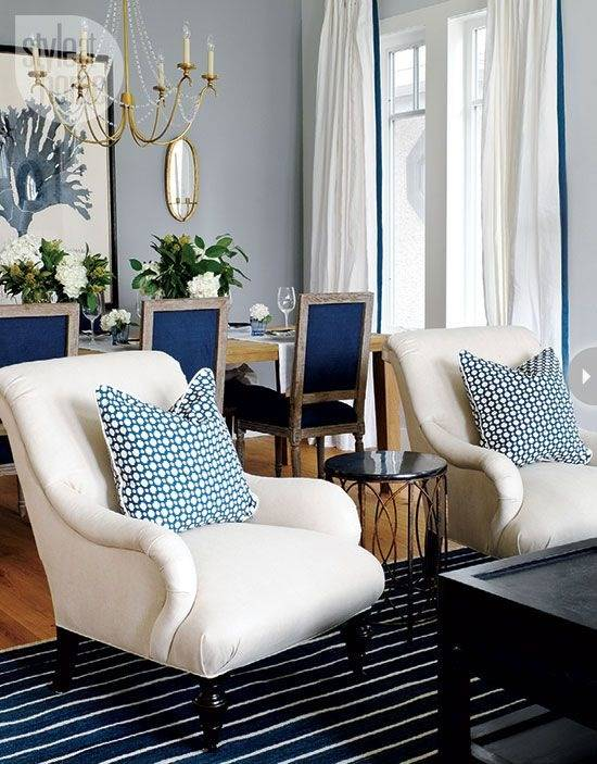 Square White Ceramic Tile Floor Dining Room Living Room Combo Blue White  Sofa And Cushions White Covered Leather Sofa Large Brown Area Rug White  Stained