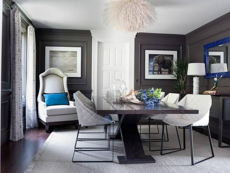 Dark Gray Round Dining Room Table