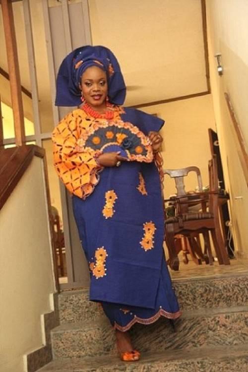 Nigerian Traditional Wedding Bride photo Blue and Pink photo of YorubaTraditional Wedding