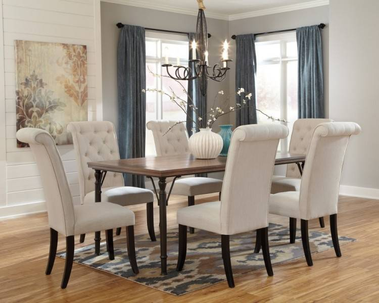 Round Dining Table & 4 Upholstered Side  Chairs on sale at Lee Furniture of Fayetteville, NC