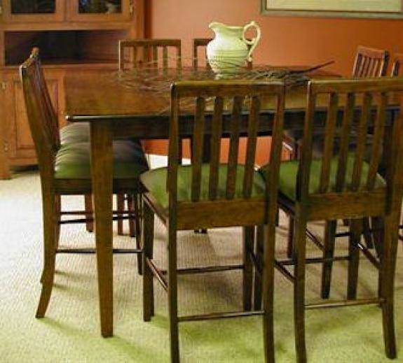"""Amish built by Fusion Designs the """"Charleston"""" pedestal table features 1″  thick solid wood tops"""