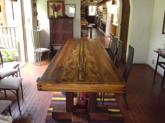 The room allowed for a round dining table which  we love