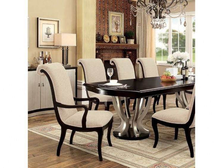 Dining room table, 4 suede chairs and a side table